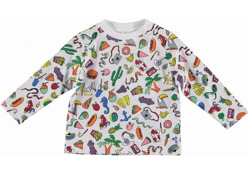 Stella McCartney Kids Toys & Food Ls Tee Toys&Food Aop White
