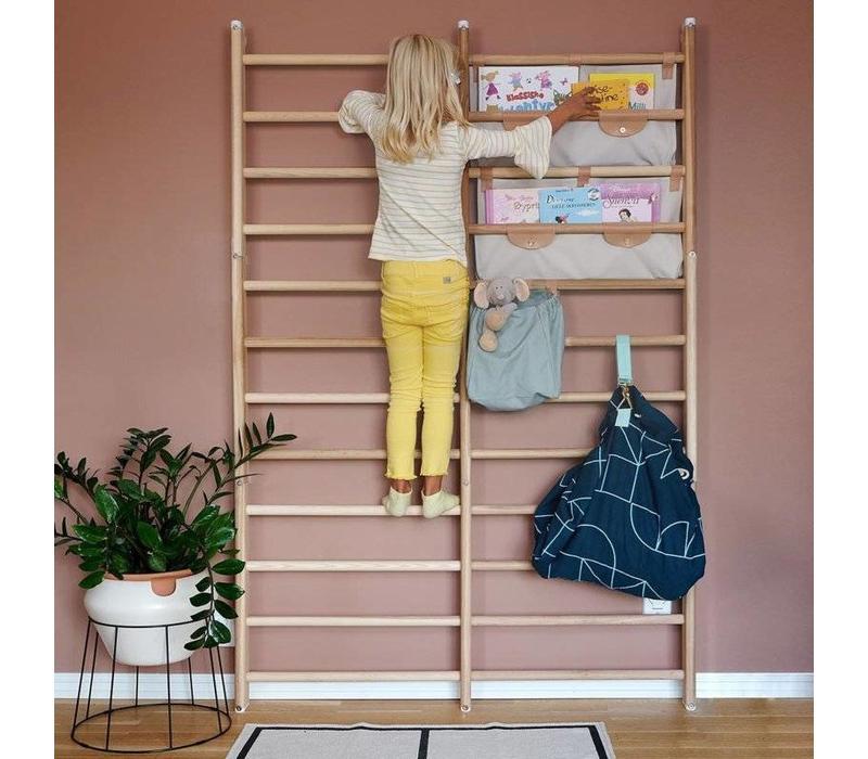 Canvas shelf for wall-bars