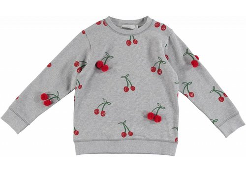 Stella McCartney Kids Cherry Sweat W/ Reasl Pompom Cherry Aop Grey Mel