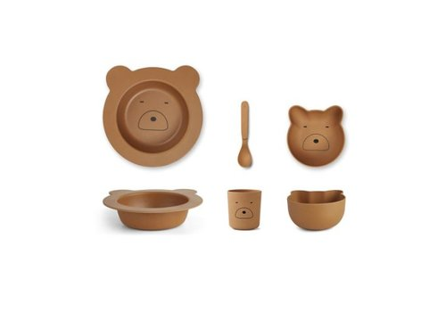 Liewood Barbara bamboo baby set Mr bear mustard