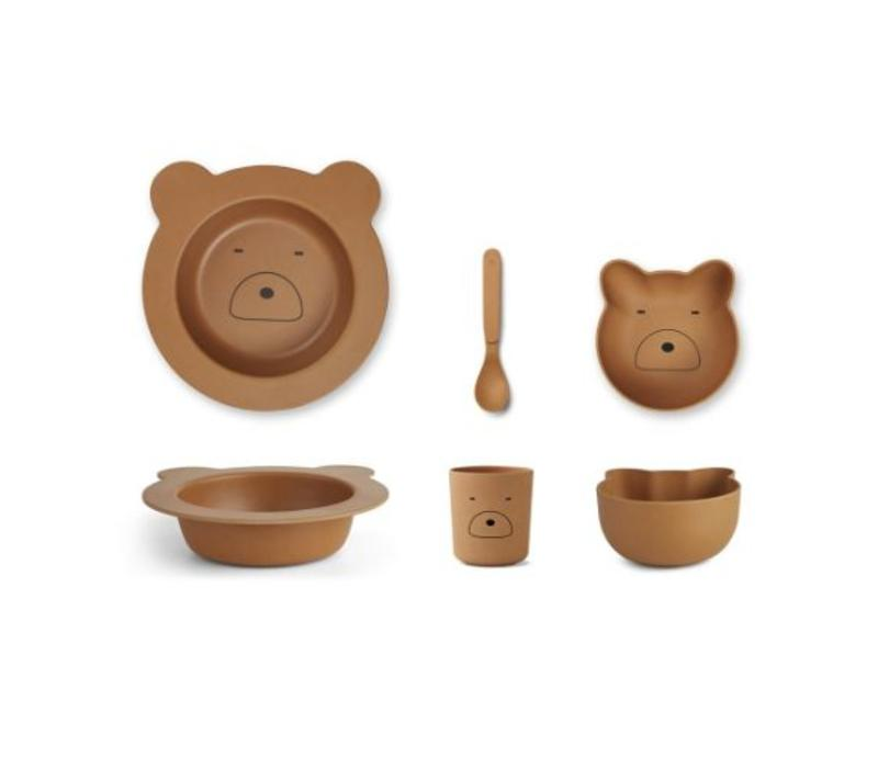 Barbara bamboo baby set Mr bear mustard