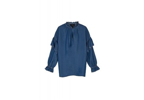 Designers Remix Girls LR Camden Ruffle Shirt, Medium Denim