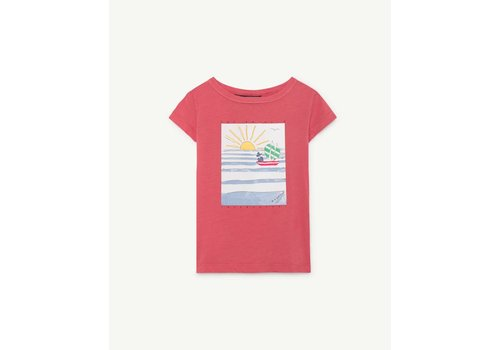 The Animals Observatory HIPPO KIDS T-SHIRT RED LANDSCAPE