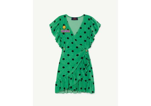 The Animals Observatory WHALE KIDS DRESS  GREEN POLKA DOTS