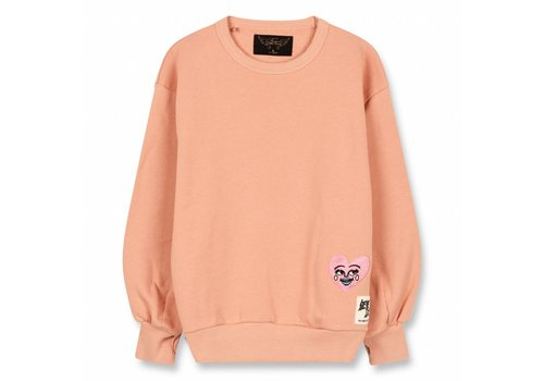 Finger in the nose Hiroko Powder Pink Heart-Girl Knitted Crew Neck Sweatshirt