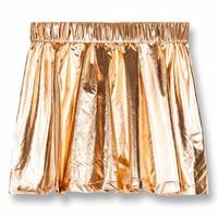Annix Copper Metal-Girl Woven Mini Skirt