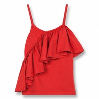 Cathy Poppy Red-Girl Knitted Jersey Tank Top