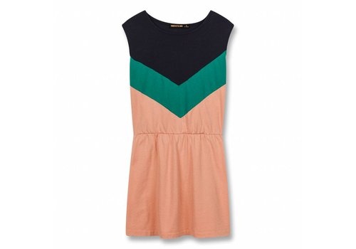 Finger in the nose Bobbie Powder Pink Colorblock-Girl Knitted Sleeveless Dress