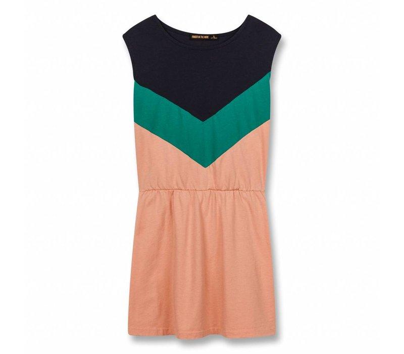 Bobbie Powder Pink Colorblock-Girl Knitted Sleeveless Dress