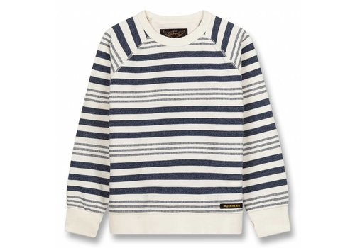 Finger in the nose Hank Indigo Stripes-Boy Knitted Crew Neck Sweatshirt