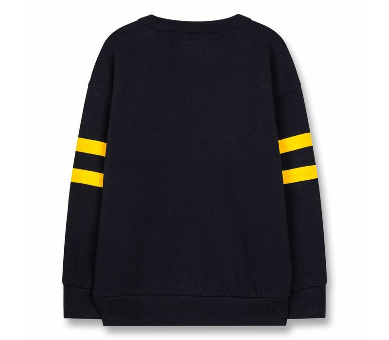 Academy Super Navy Tiger-Girl Knitted Round Neck Sweatshirt
