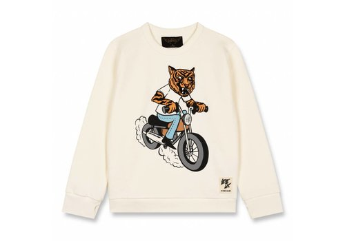 Finger in the nose Brian Off White Tiger-Boy Knitted Crew Neck Sweatshirt