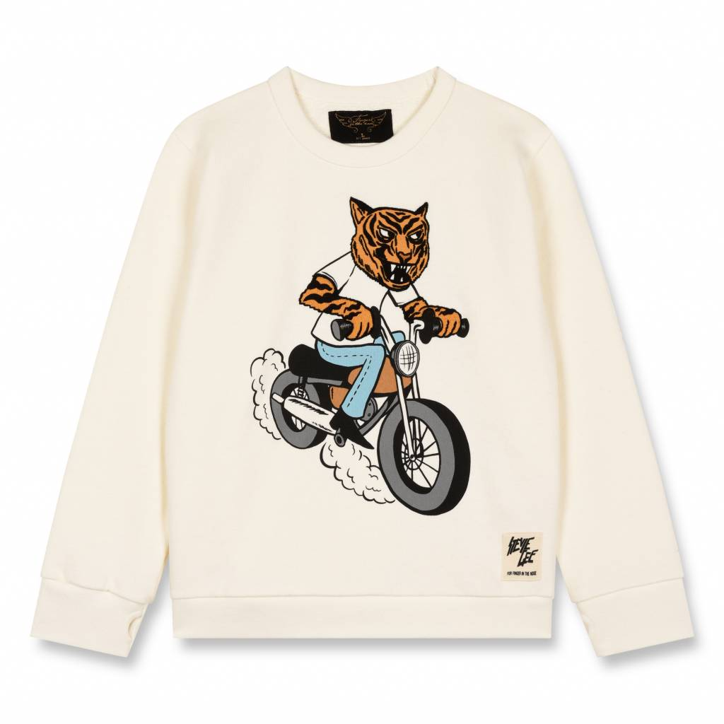 2511954af Finger in the nose Brian Off White Tiger-Boy Knitted Crew Neck Sweatshirt
