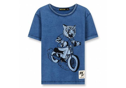Finger in the nose Dalton Kraft Blue Moto Tiger-Boy Knitted Short Sleeve T-Shirt
