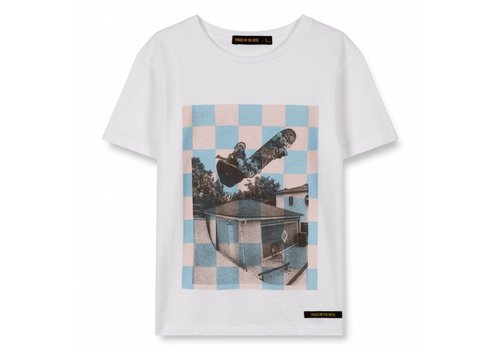 Finger in the nose Dalton White Checkers Skate-Boy Knitted Short Sleeve T-Shirt