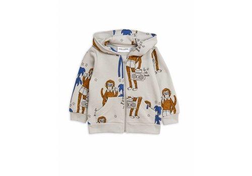 Mini Rodini Cool Monkey Aop Zip Hood Grey