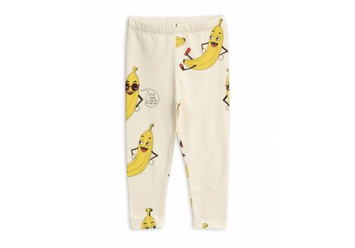 Mini Rodini Banana Aop Leggings Offwhite