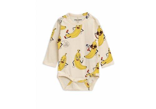 Mini Rodini Banana Aop Ls Body Offwhite