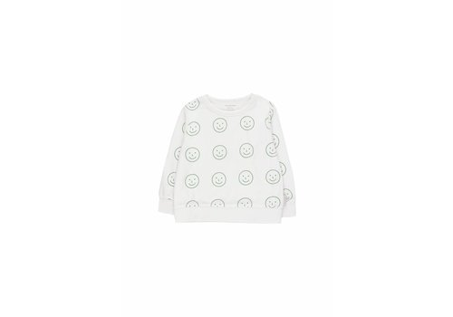 Tiny Cottons Happy Face Sweatshirt Offwhite/Deep Green