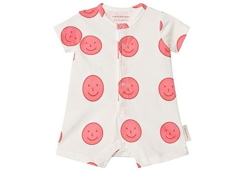Tiny Cottons Happy Face Relaxed One-Piece Off-White/Rose