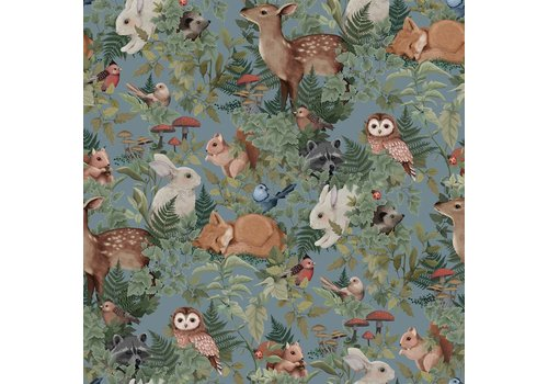 Jimmy Cricket Wallpaper Woodlands Dusty Blue