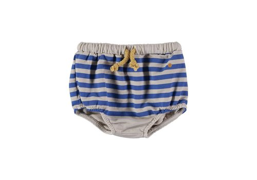 Bonmot organic MINI BLOOMER NAVY PRINT STRIPE // MUSHROOM