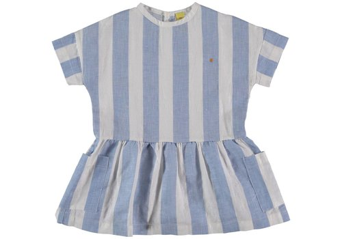 Bonmot organic DRESS ALL OVER STRIPE // LIGHT BLUE + WHITE ARMONY