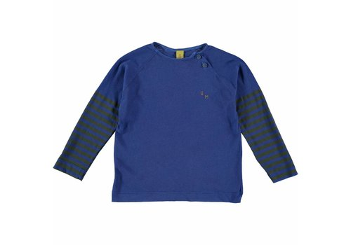 Bonmot organic LONG SLEEVE TEE PRINTED SLEEVE // FRESH BLUE