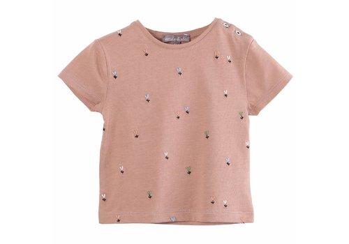 Emile et Ida Tee Shirt Terracotta Fleurette