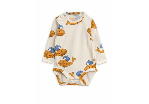 Mini Rodini Whale Aop Ls Body Orange