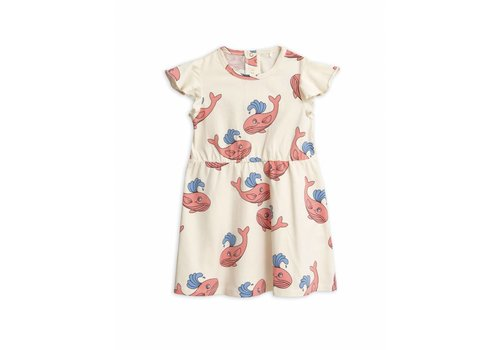 Mini Rodini Whale Aop Wing Dress Pink