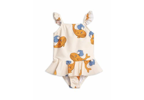 Mini Rodini Whale Skirt Swimsuit Orange