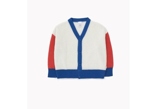 Tiny Cottons Color- Block Cardigan Off-White/Red