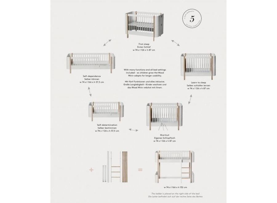 CONVERSION MINI + TO MINI + LOW LOFT BED, WHITE/OAK