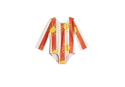 Mini Rodini Sun stripe ls swimsuit Offwhite