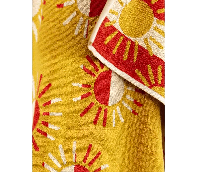 Sun stripe beach towel Red