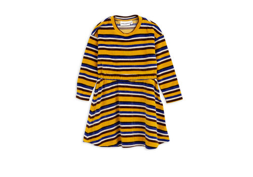 Mini Rodini Velour stripe dress Yellow