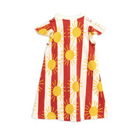 Sun stripe aop wing dress Red