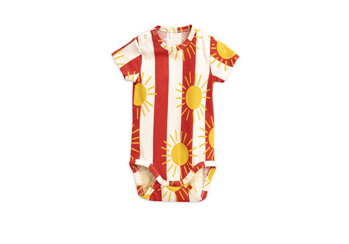 Mini Rodini Sun stripe aop ss body Red