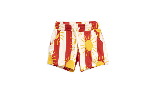Mini Rodini Sun stripe aop shorts Red