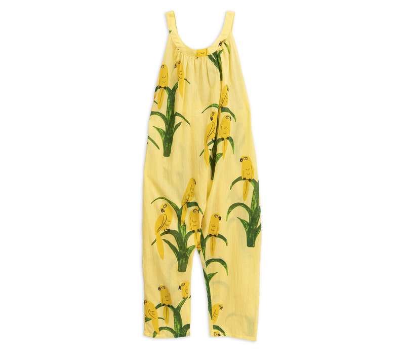 Parrot woven dungarees Yellow