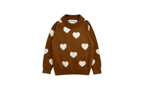 Mini Rodini Knitted heart sweater Brown