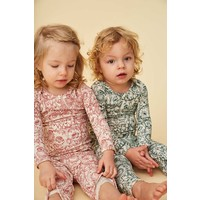Baby Paula Leggings Cream, AOP Owl Green
