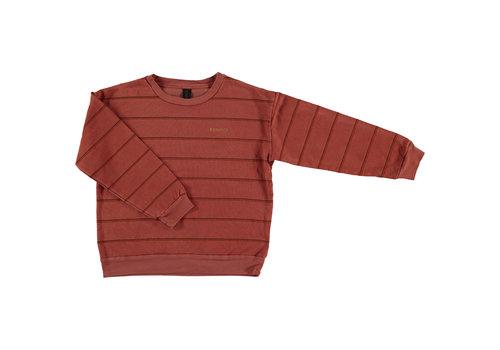 Bonmot organic sweatshirt double stripe,  Tomato