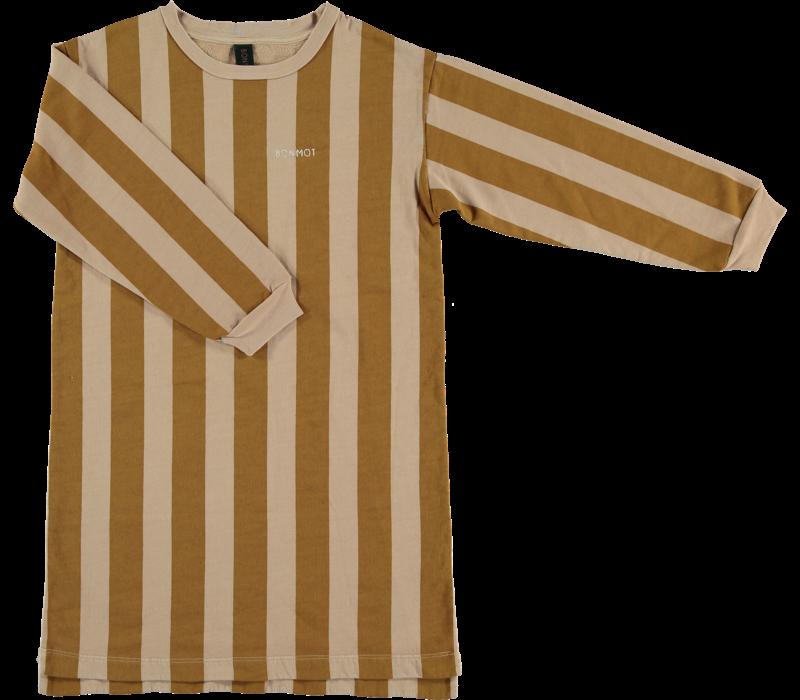 fleece dress wide stripe,  Maple_sugar