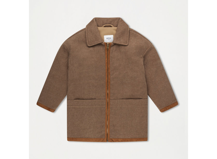 Bomber With Collar Sand Brown