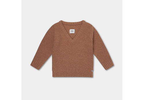 Repose AMS Knitted V Neck Sweater Rusty Apricot