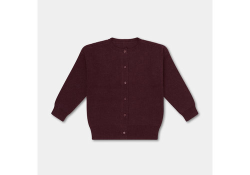 Repose AMS Knitted Rib Cardigan Rosewood Red