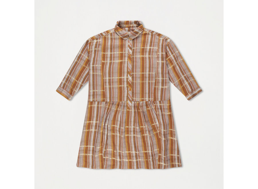 Boxy Shirt Dress Golden Check