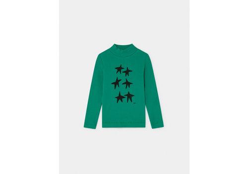 BOBO CHOSES Stars Turtle Neck T-Shirt Peppergreen